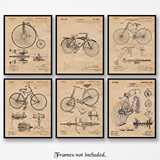 Original Bicycle Patent Poster Prints, Set of 6 (8x10) Unframed Photos, Wall Art Decor Gifts Under 20 for Home, Office, Garage, Man Cave, College Student, Teacher, Team Cyclist & Triathlon Fan