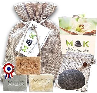 M'K - BIO - Saponifié à froid - artisanal - huile d'olive - Coffret femme bien-être : 3 X 100g NATUREL/ARGILE/CURCUMA + sa...