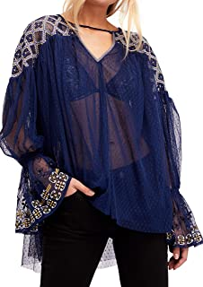 Free People Womens Joyride Sheer Embroidered Pullover Top