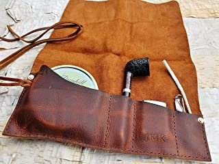 Medium Leather Pipe & Tobacco Pouch