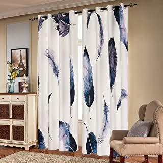 Subrtex Printed Curtains Blackout for Bedroom Living Room Kids Room Dining Room Valance Colorful Window Drapes 2 Panel Set (52'' x 84'', Feather)