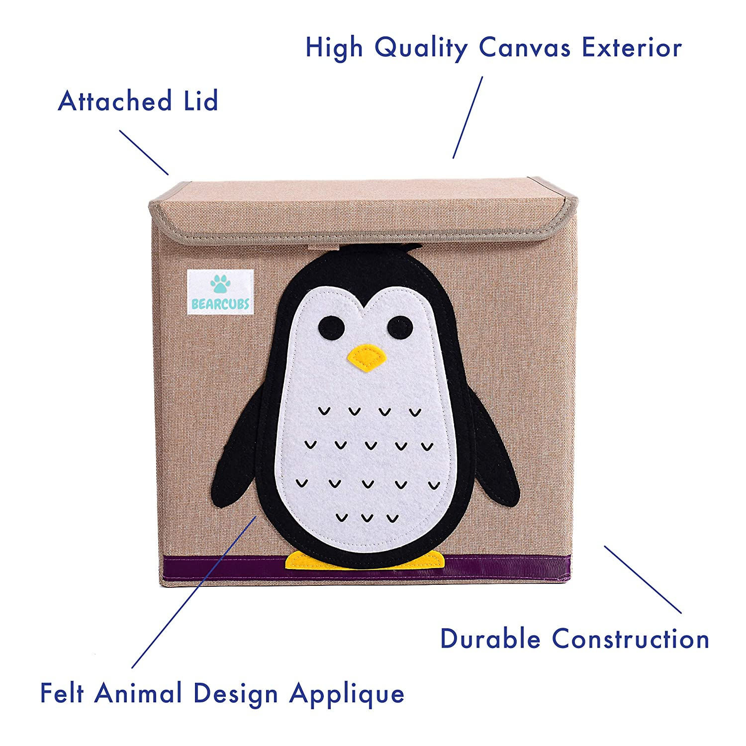 13in x 13in x 13in with Lid Koala Bearcubs Cube Nursery Organizer Kids Storage Box Childrens Toy Chest