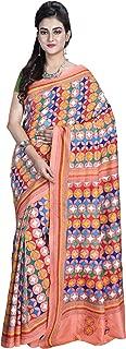 SareesofBengal Women's Kantha Stitch Pure Silk Saree (K054, Peach, Pink, Coral, Multicolor, Free Size)