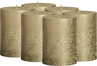 BOLSIUS Rustic Full Metallic Gold Candles ? Set of 6 Unscented Pillar Candles ? Gold Candles with a Full Metallic Coat ? S...