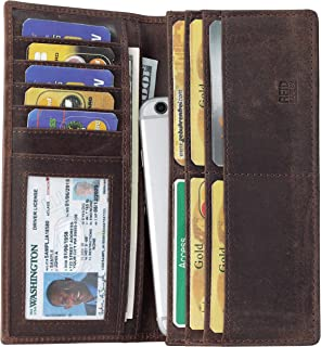 Mou Meraki Mens Vintage Genuine Leather RFID Blocking Long Wallet Bifold Wallets For Men