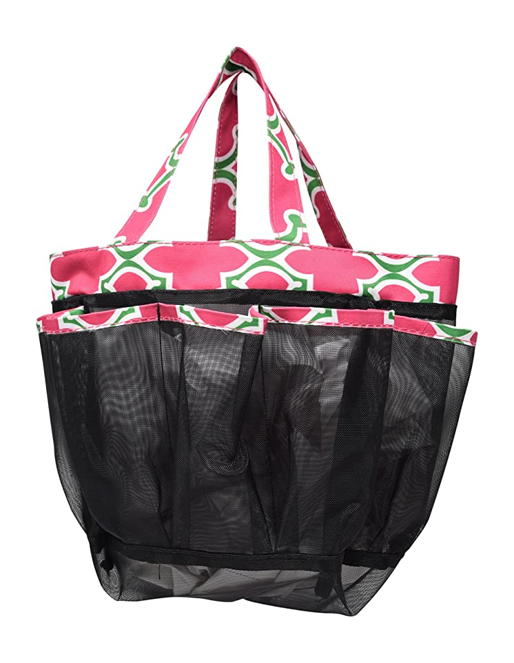 資産ペダルドアミラー(Pink/Green Quatrefoil) - 8 Pocket Large Mesh Shower Caddy Tote With Fabric Double Handles For Quick Drying To Keep Your Essentials In Reach (Pink/Green Quatrefoil)