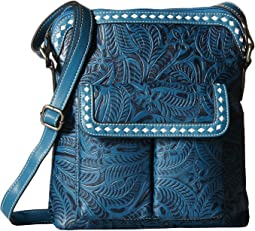 M&F Western Floral Embossed Buck Stitch Crossbody