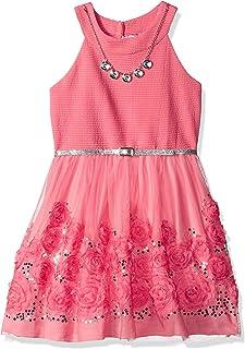 فستان Beautees بناتي كبير بدون أكمام وواسع مع زخرفة Soutach