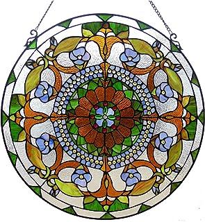 "Chloe Lighting 24"" VIOLETTA Tiffany-glass Victorian Window Panel, One Size"