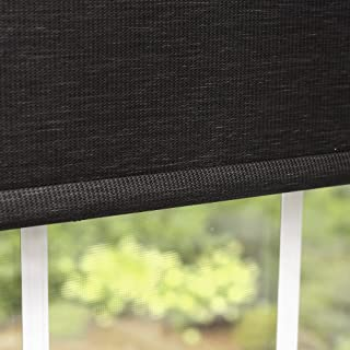 Best Home Fashion Premium Single Wood Look Roller Window Shade - Charcoal - 31