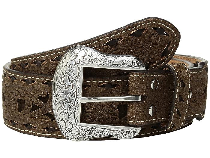 M&F Western Floral Pierced Embossed with Buckstitch Belt (Brown/Brown) Men