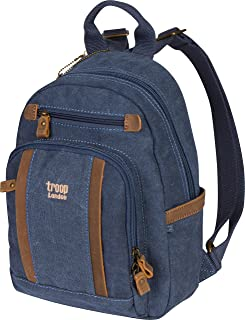 Troop London Canvas Backpack Leather Trims With Many Pockets Size Small TRP0255