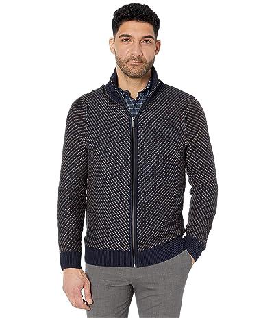 Perry Ellis Chevron Stitch Full Zip Long Sleeve Sweater (Dark Sapphire) Men