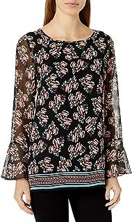 Amazon Brand - Lark & Ro Women's Long Sleeve Tunic with Bell Cuff Sleeve