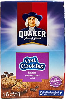 Quaker Oat Cookies with Raisins, 27g, Pack of 16