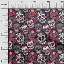 oneOone Cotton Cambric Red Fabric Floral & Skull Fabric for Sewing Printed Craft Fabric by The Yard 42 Inch Wide