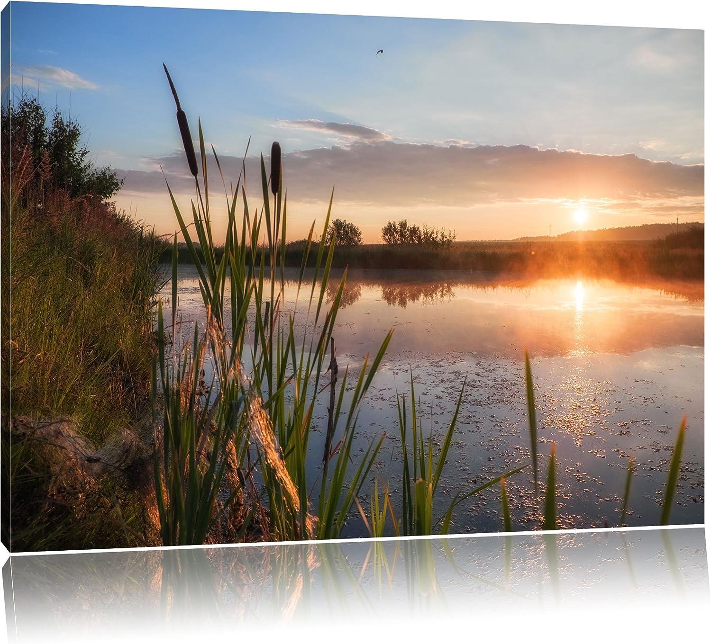 Sonniger Morgen am See, Format  120x80 auf Leinwand, XXL riesige Bilder fertig gerahmt mit Keilrahmen, Kunstdruck auf Wandbild mit Rahmen, günstiger als Gemälde oder Ölbild, kein Poster oder Plakat B01JADTHG0