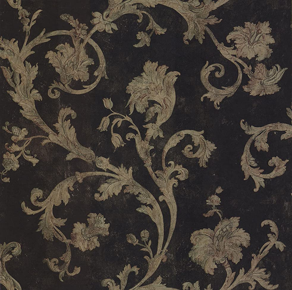 Brewster 430-7113 Scrolls and Damasks Scroll Trail Wallpaper, 20.5-Inch by 396-Inch, Black