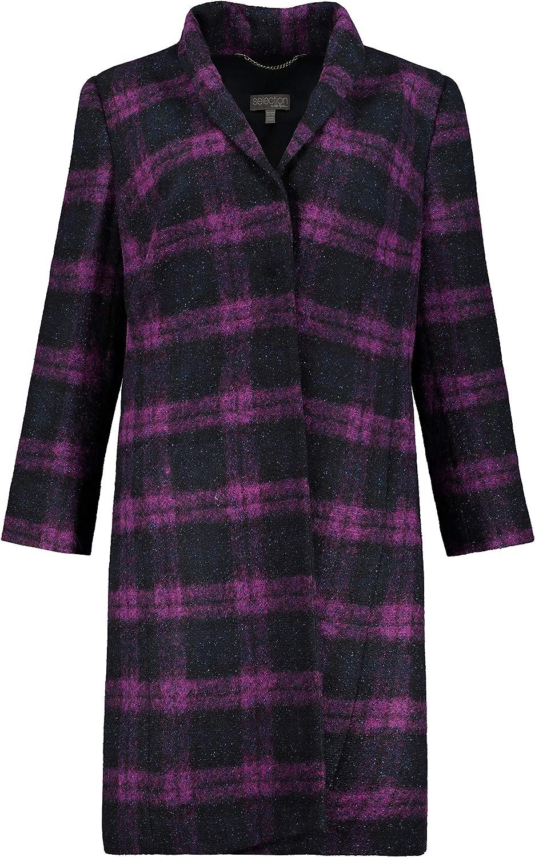 Ulla Popken Womenswear Plus Size Curvy Oversize Plaid Bouclé Fully Lined Coat Midnight Blue Multi 28/30 749410 70
