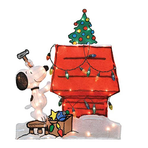 ProductWorks 32-Inch Pre-Lit Peanuts Snoopy and Doghouse Christmas Yard  Decoration, 70 - Dog Christmas Lights Decorations: Amazon.com