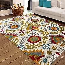 Carpet Craft Floral Ivory & Multi Handmade Wool Carpet 5x8 Feet (150x240 cm) Woolen Carpet for Living Room Bedroom Floor and Hall Color Ivory & Multi