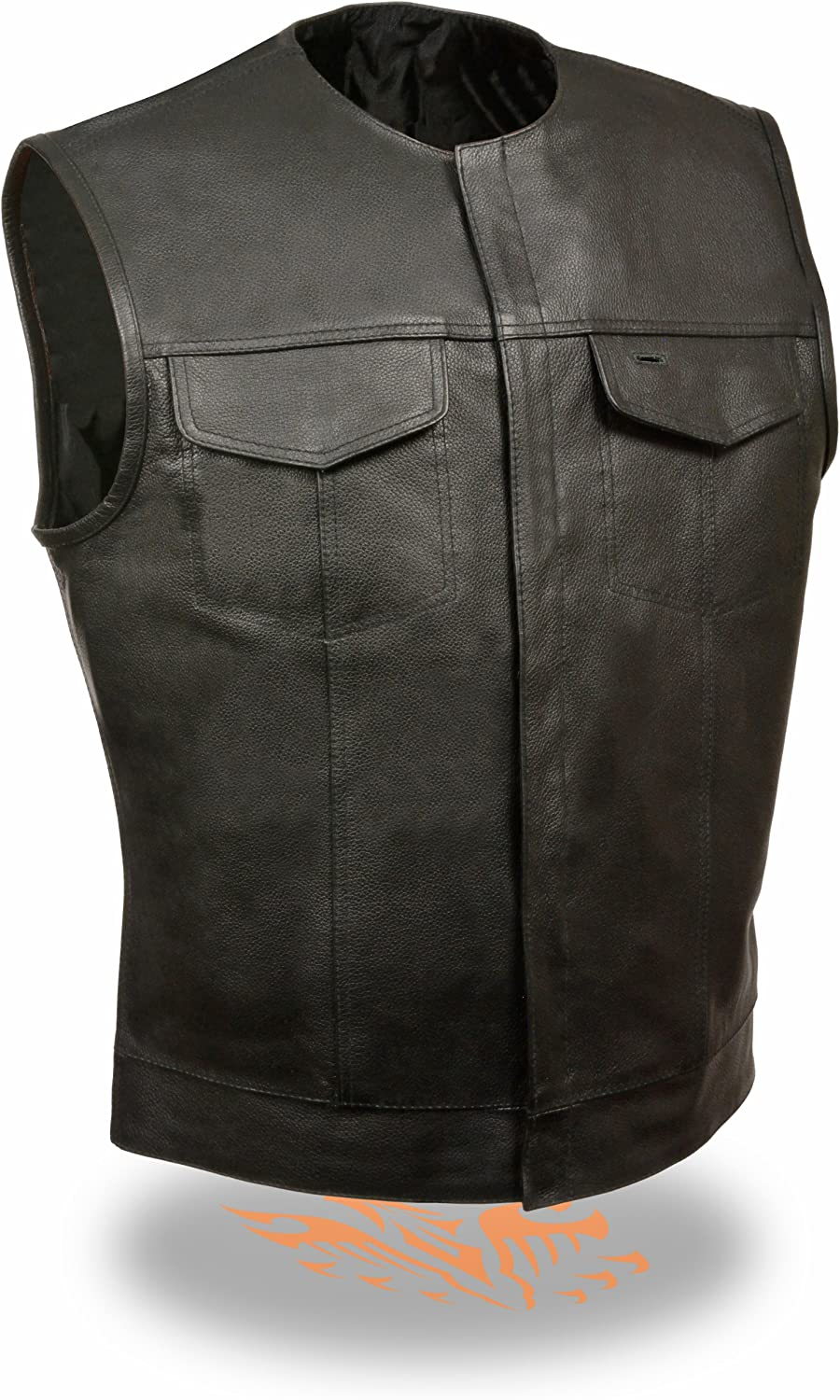 Men's SOA Collarless Leather Vest w/ Inside Gun & Drop Pocket Perfect for Club Colors & Patches (Large)