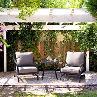 Grand patio Patio Set Outdoor Patio Furniture Set Metal K/D Chat Set Swing Rocking Patio Chair Wrought Iron Chair Set with Gray Water Resistant Cushions for Garden Lawn & Poolside (3 Piece Set)