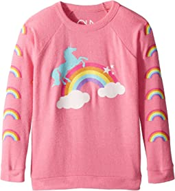 Chaser Kids - Love Knit Raglan Unicorn Rainbow Pullover (Little Kids/Big Kids)