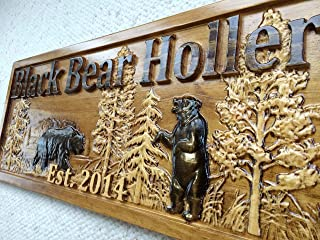 Personalized Wood Sign Custom Carved Cabin Gift Man Cave Wedding Family Last Name Camp Lake House Décor Woods Black Bear Plaque Last Name Established Sign Custom Wood Sign 3D Camper Sign