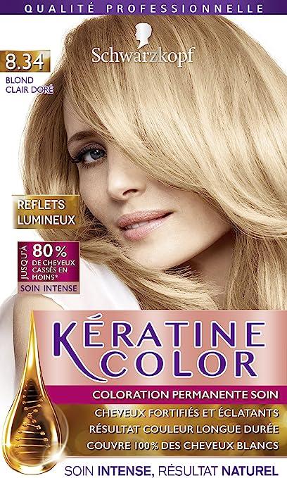 Keratin Color coloración permanente rubio soleado 8.34.
