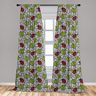 Ambesonne Ladybugs Window Curtains, Ecological Fresh Leaves and Ladybugs Doodle Style Animals and Plants Pattern, Lightwei...