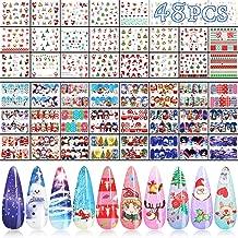 48 Sheets Christmas Nail Art Stickers, KISSBUTY Christmas Designs Nail Water Transfer Stickers Wraps Adhesive Nail Art Tattoos DIY Nail Decals