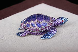 Vintage Snapping Turtle Metal Trinket Jewelry Box Enameled Rhinestone (Blue, 8.5*5.8*2.5 Cm (L*w*h))