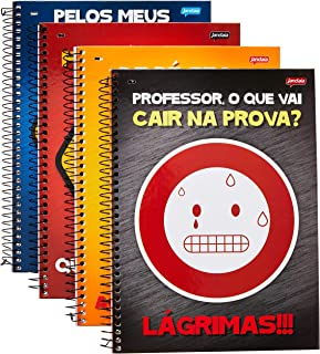 Caderno de 1 Matéria, Jandaia 51335-15, Capas Sortidas, Pacote com 4 Cadernos