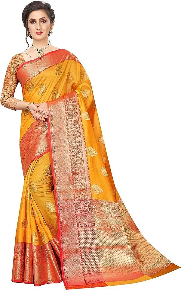 Indian Silk Zone Women's Banarasi Art Silk Saree With Blouse Piece Saree
