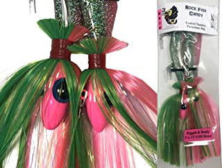 Blue Water Candy - Rock Fish Candy 12 oz & 8 oz Mojo Lure Loaded with 9-Inch Swimbait Shad Bodies Tandem Parachute Rigged & Ready