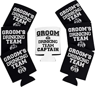 Groomsmen Gifts Coolies, Pack of 6 Groom's Drinking Team + 1 Groom Drinking Team Captain, Can Cooler for Wedding Party, Bacholerette Coolies - Black