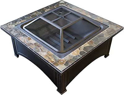 Hiland FT-51133D Square Burning Fire Pit w/Wood Grate and Domed Mesh Screen Lid, Poker Included, Slate Stone Tile Top