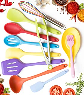 11pc Silicone Kitchen Utensil Set by CuisineFacets Colorful Cooking Utensils with Spatula, Serving Tools, Accessories and FREE Spoon Rest - Heat Resistant Spatulas and Spoons for Non-Stick Cookware