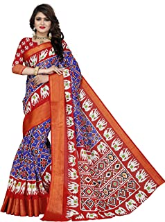 Divine International Trading Co Women's Cotton Patola Printed Pochampally Ikat Saree with Unstitched Blouse Piece