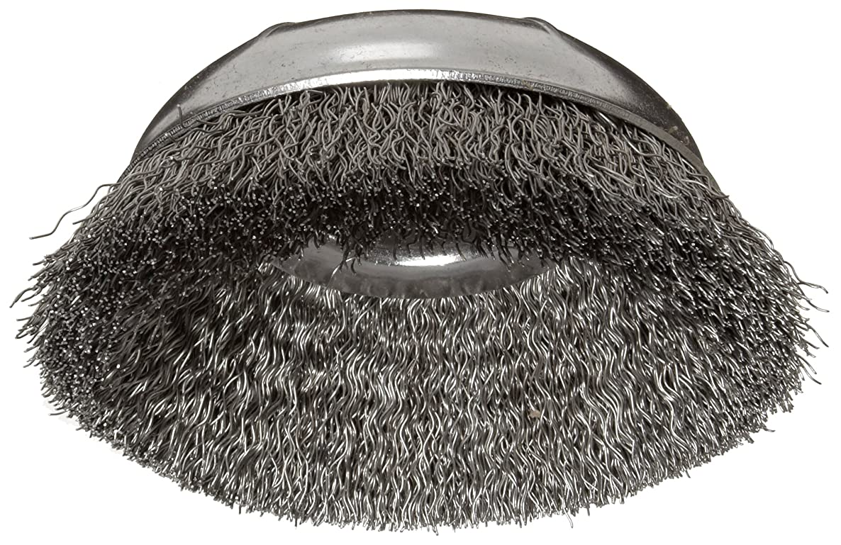 Weiler Wire Cup Brush, Threaded Hole, Steel, Crimped Wire, 4