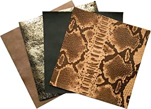 Leather Sheets for Jewelry Making: Genuine Sheepskin Leather with Snake Leather Print 4 Sheets 5x5In/ 12x12cm