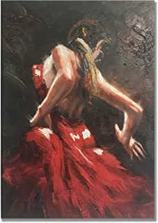 Paimuni Dancing Lady Oil Paintings Hand Painted Attractive Woman Dancer in Red Dress Canvas Wall Art Ready to Hang Wall Decor (24x36 inches)