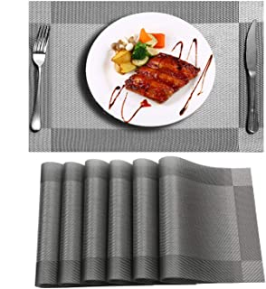Placemats For Dining Table - Niskite Wipeable Table Mats Set of 6 Non-Slip Washable Place Mats,Heat Resistant Crossweave Woven Vinyl Placemat For Kitchen Dinner Table Silver