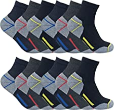 Mens Ultimate Cotton Low Ankle Quarter Work Socks for Steel Toe Boots