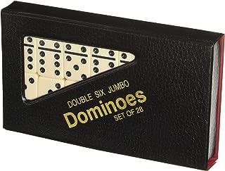 Double 6 Jumbo Size Domino Tiles in Snap Vinyl Case, Black/Cream Color