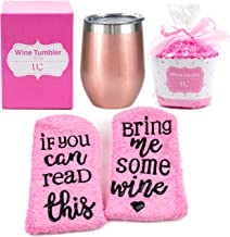 Stainless Steel 12 oz Wine Tumbler + Cupcake Wine Socks Gift Set | Double Insulated..