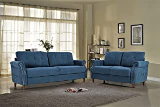 Beau US Pride Furniture S5466 2PC Living Room Set, Sofa And Loveseat, Ocean Blue
