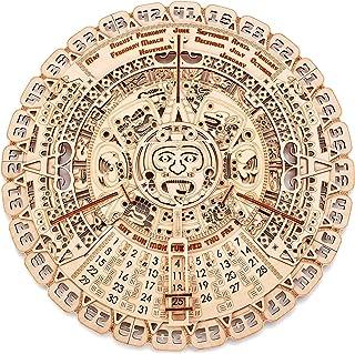 Wood Trick Mayan Wall Calendar Wooden Mechanical Model Kit - 16.1″ - 3D Wooden Puzzle, Assembly Constructor, Brain Teaser for Adults and Kids - Aztec Calendar