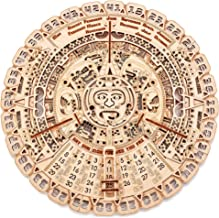 Wood Trick Mayan Wall Calendar Wooden Mechanical Model - 16.1x16.1″ - 3D Wooden Puzzle, Assembly Constructor, Brain Teaser for Adults and Kids, Best DIY Toy, Eco Wooden Toys - Aztec Calendar
